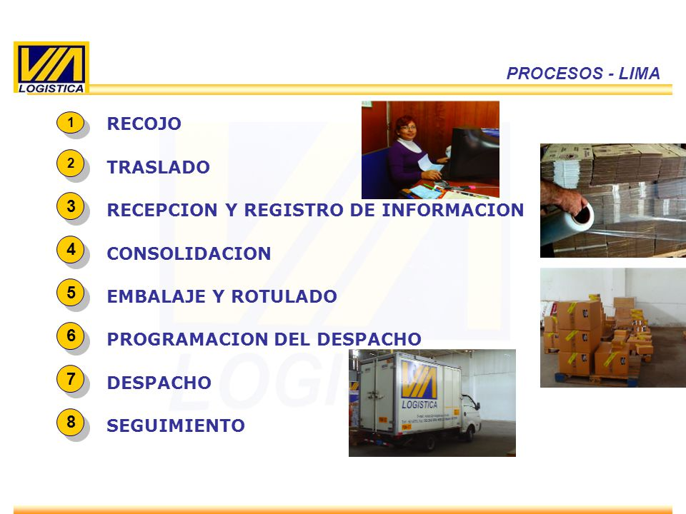 ENERO 2010 8 PROCESOS - LIMA 1 1 RECOJO 3 3 RECEPCION Y REGISTRO DE INFORMACION 4 4 CONSOLIDACION 5 5 EMBALAJE Y ROTULADO 6 6 PROGRAMACION DEL DESPACH