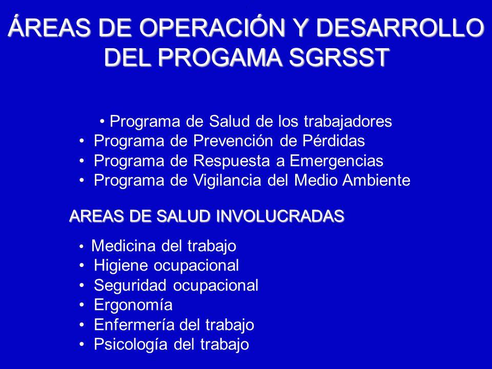 6/12/2014AUGUSTO V RAMIREZ, MD OH.. ÁREAS DE OPERACIÓN Y DESARROLLO DEL PROGAMASGRSST ÁREAS DE OPERACIÓN Y DESARROLLO DEL PROGAMA SGRSST Programa de S