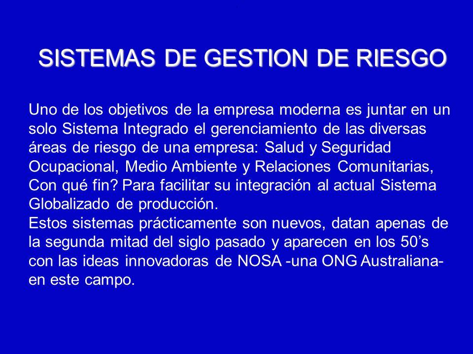 .. SISTEMAS DE GESTION DE RIESGO Uno de los objetivos de la empresa moderna es juntar en un solo Sistema Integrado el gerenciamiento de las diversas á