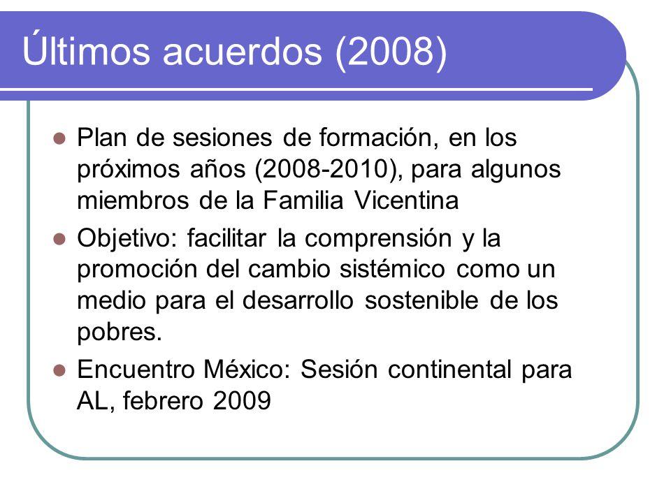 Últimos acuerdos (2008) Plan de sesiones de formación, en los próximos años (2008-2010), para algunos miembros de la Familia Vicentina Objetivo: facil