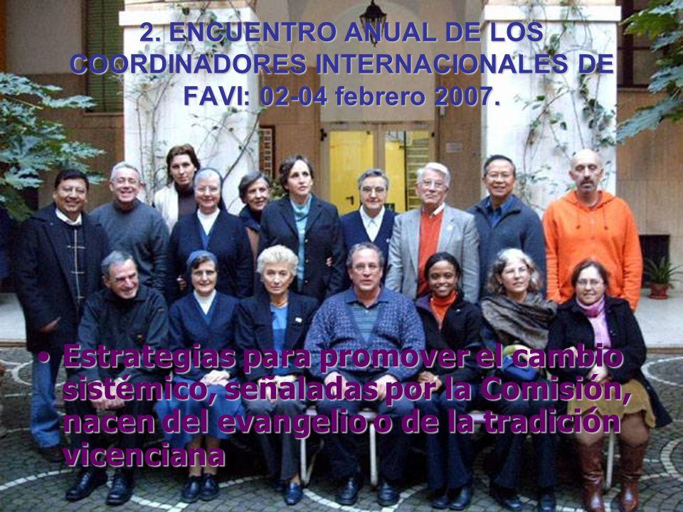 2. ENCUENTRO ANUAL DE LOS COORDINADORES INTERNACIONALES DE FAVI: 02-04 febrero 2007. Estrategias para promover el cambio sistémico, señaladas por la C