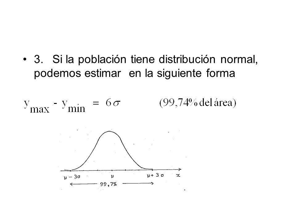 3.Si la población tiene distribución normal, podemos estimar en la siguiente forma