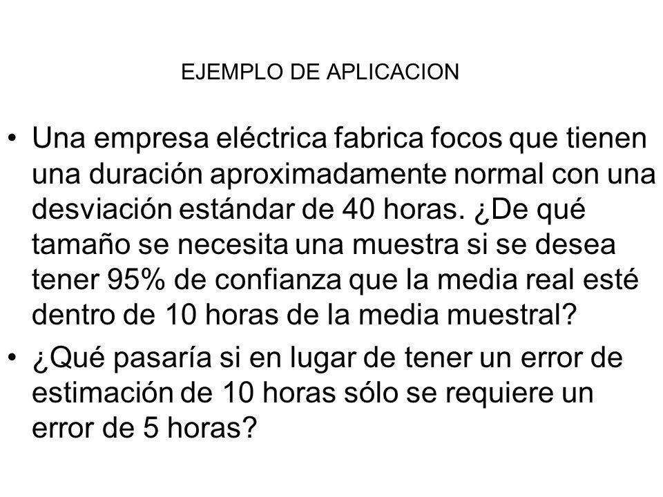 EJEMPLO DE APLICACION Una empresa eléctrica fabrica focos que tienen una duración aproximadamente normal con una desviación estándar de 40 horas. ¿De