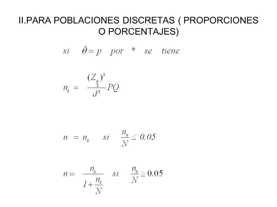 II.PARA POBLACIONES DISCRETAS ( PROPORCIONES O PORCENTAJES)