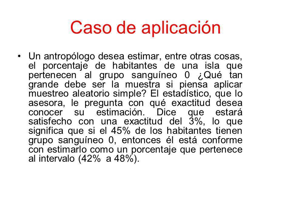 Caso de aplicación Un antropólogo desea estimar, entre otras cosas, el porcentaje de habitantes de una isla que pertenecen al grupo sanguíneo 0 ¿Qué t