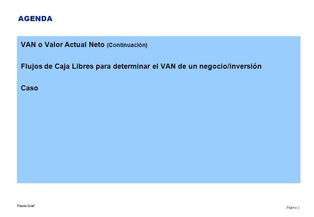Página 1 Flavio Graf AGENDA VAN o Valor Actual Neto (Continuación) Flujos de Caja Libres para determinar el VAN de un negocio/inversión Caso