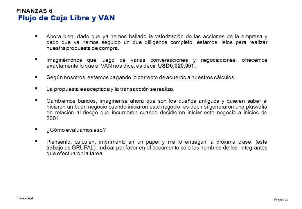 Página 16 Flavio Graf FINANZAS 6 Flujo de Caja Libre y VAN Ahora bien, dado que ya hemos hallado la valorización de las acciones de la empresa y dado