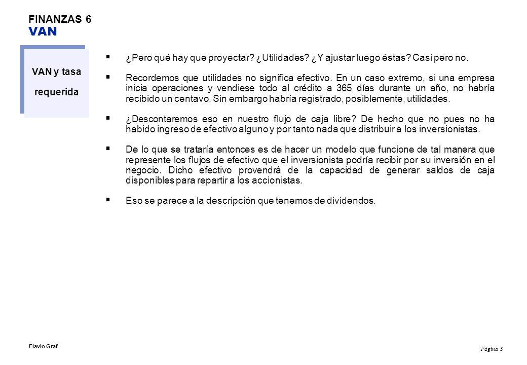 Página 14 Flavio Graf FINANZAS 6 Flujo de Caja Libre y VAN Flujo de Caja Libre (FCL) proyectado, 2002-2007 2002 (Histórico)20032004200520062007 Utilidad después de impuestos $ 548,024 $ 624,246 $ 1,000,699 $ 1,393,465 $ 1,965,828 $ 2,212,349 Agregar depreciación $ 449,800 $ 621,349 $ 742,913 $ 925,259 $ 1,116,722 $ 1,284,480 Agregar Interés pagado menos escudo tributario, multiplicar = interés x [1 - % de impuesto a la renta]) $ 104,066 $ 86,970 $ 52,373 $ 73,365 $ 65,796 $ 8,881 Substraer Incremento en Activos Corrientes $ (178,276) $ (842,538) $ (731,917) $ (721,786) $ (649,608) $ (498,033) Agregar Incremento en Pasivos naturales al negocio $ 80,755 $ 372,171 $ 25,280 $ 311,276 $ 301,831 $ 212,354 Substraer Incremento en Activos Fijos al Costo $ (403,037) $ (787,915) $ (1,013,033) $ (1,519,550) $ (1,595,528) $ (1,397,986) Flujo de Caja Libre $ 601,332 $ 74,282 $ 76,314 $ 462,029 $ 1,205,042 $ 1,822,046