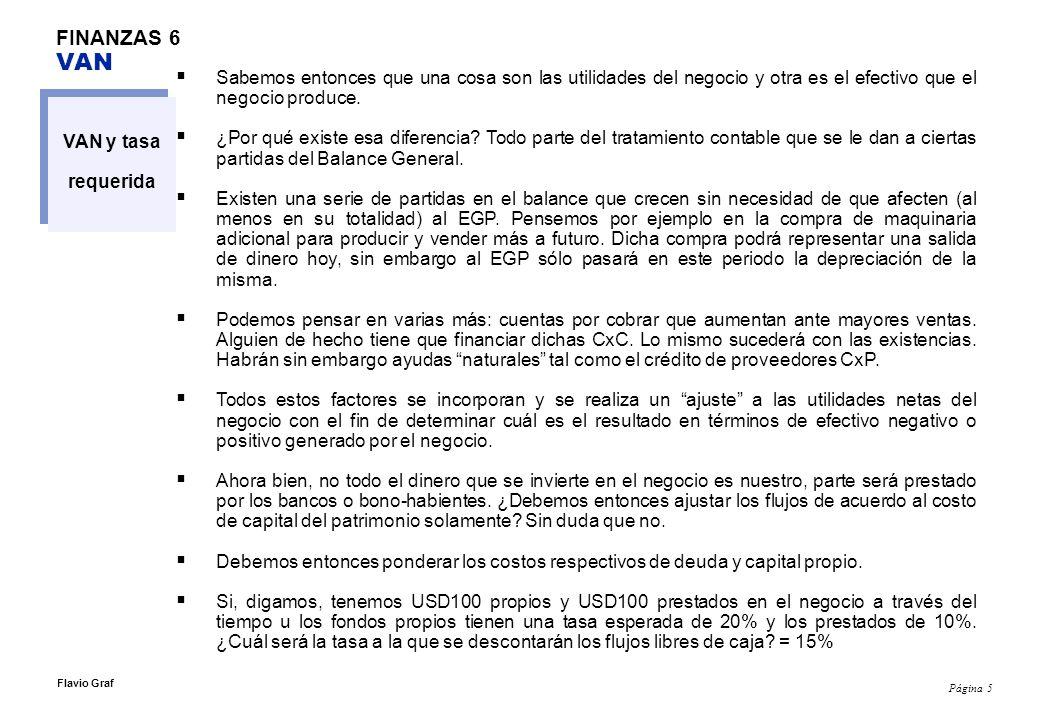 Página 6 Flavio Graf FINANZAS 6 VAN VAN y tasa requerida Dicha tasa de descuento se llama WACC (Weighted Average Cost of Capital) y es, puesto en otras palabras, el i al cual se descuentan los flijos de caja libres.