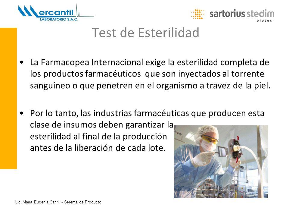 Lic. María Eugenia Carini - Gerente de Producto Test de Esterilidad La Farmacopea Internacional exige la esterilidad completa de los productos farmacé