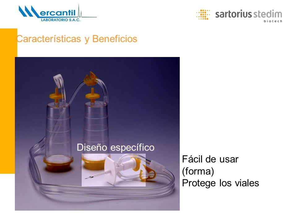 Lic. María Eugenia Carini - Gerente de Producto Diseño específico Fácil de usar (forma) Protege los viales Características y Beneficios