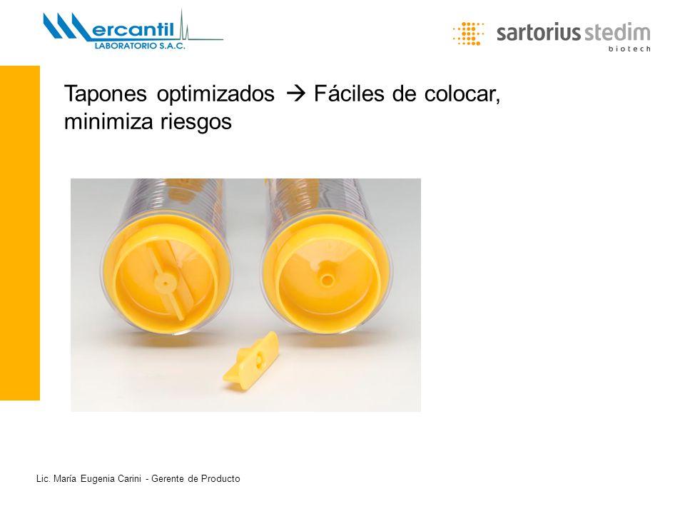 Lic. María Eugenia Carini - Gerente de Producto Tapones optimizados Fáciles de colocar, minimiza riesgos