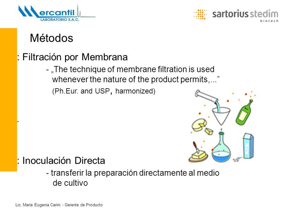 Lic. María Eugenia Carini - Gerente de Producto Métodos : Filtración por Membrana - The technique of membrane filtration is used whenever the nature o