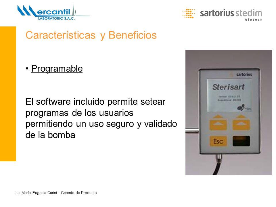 Programable El software incluido permite setear programas de los usuarios permitiendo un uso seguro y validado de la bomba Características y Beneficio