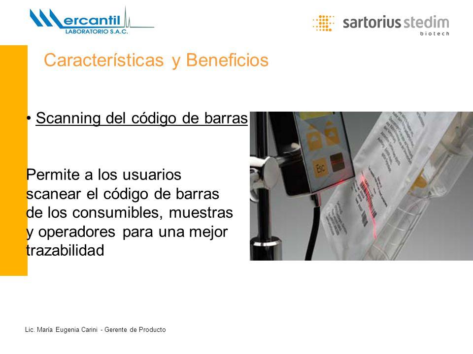 Lic. María Eugenia Carini - Gerente de Producto Scanning del código de barras Permite a los usuarios scanear el código de barras de los consumibles, m