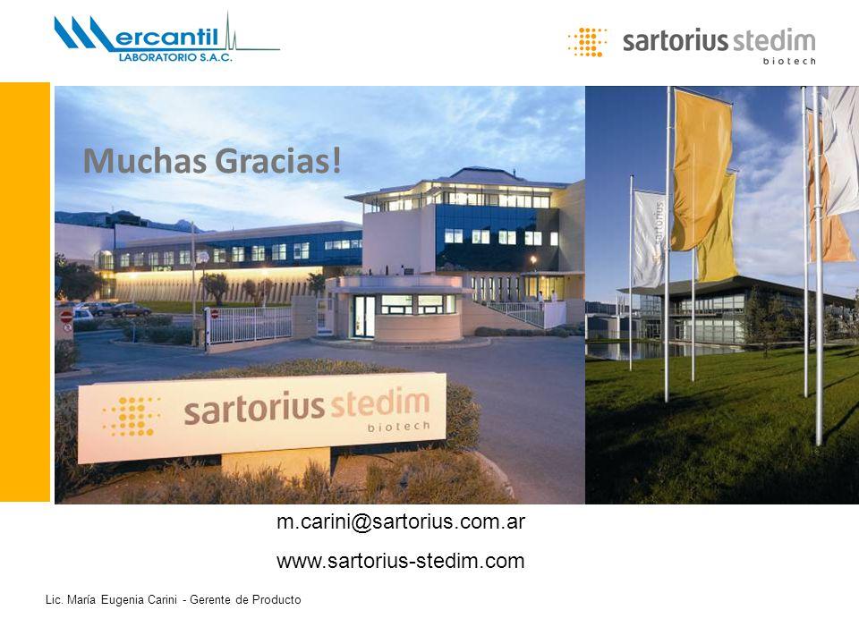 Lic. María Eugenia Carini - Gerente de Producto Muchas Gracias! m.carini@sartorius.com.ar www.sartorius-stedim.com