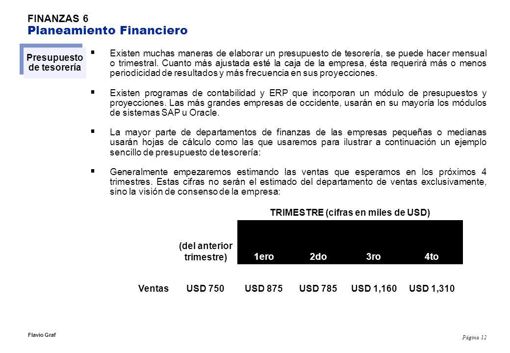 Página 12 Flavio Graf FINANZAS 6 Planeamiento Financiero Presupuesto de tesorería Existen muchas maneras de elaborar un presupuesto de tesorería, se p