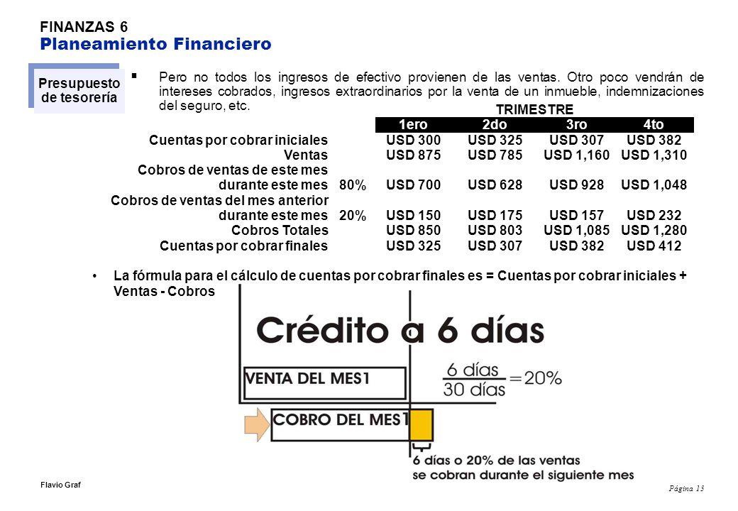 Página 13 Flavio Graf FINANZAS 6 Planeamiento Financiero Presupuesto de tesorería Pero no todos los ingresos de efectivo provienen de las ventas. Otro