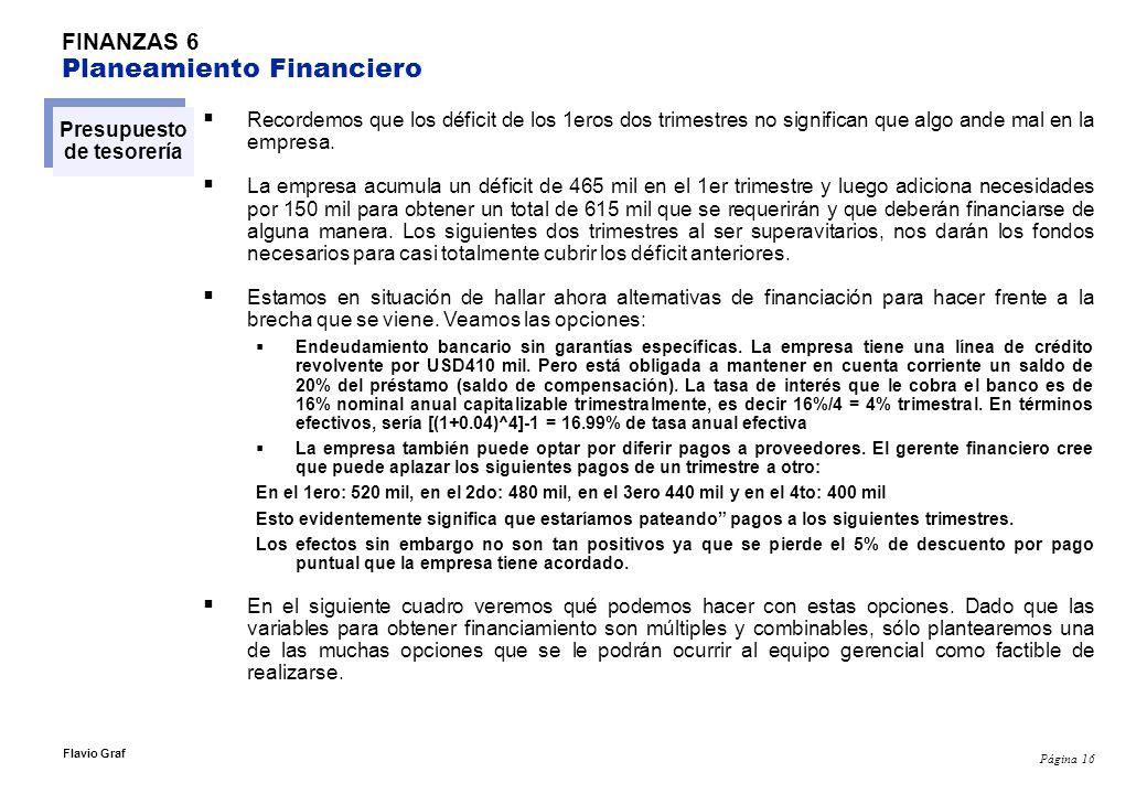 Página 16 Flavio Graf FINANZAS 6 Planeamiento Financiero Presupuesto de tesorería Recordemos que los déficit de los 1eros dos trimestres no significan