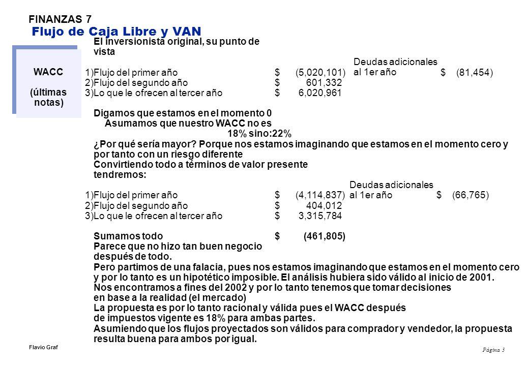 Página 3 Flavio Graf FINANZAS 7 Flujo de Caja Libre y VAN WACC (últimas notas) El inversionista original, su punto de vista 1)Flujo del primer año $ (