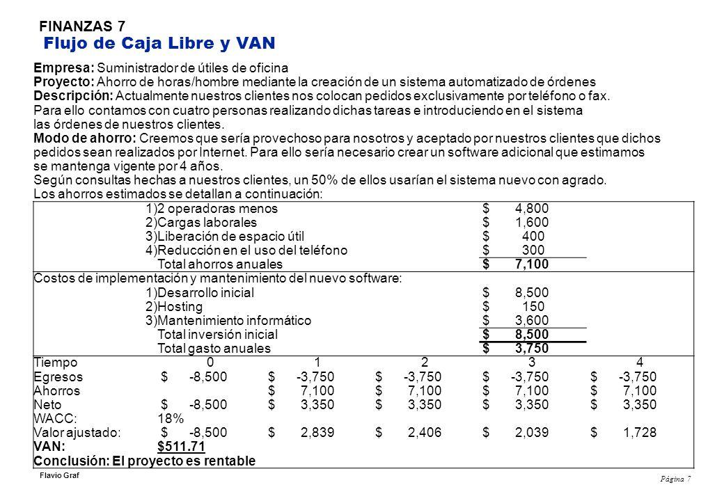 Página 7 Flavio Graf FINANZAS 7 Flujo de Caja Libre y VAN Empresa: Suministrador de útiles de oficina Proyecto: Ahorro de horas/hombre mediante la cre