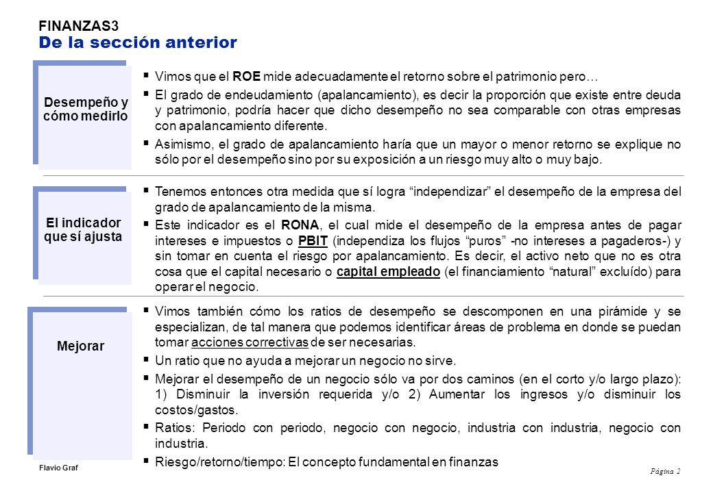 Página 3 Flavio Graf FINANZAS2 Ratios financieros Miden liquidez y apalancamiento (endeudamiento).