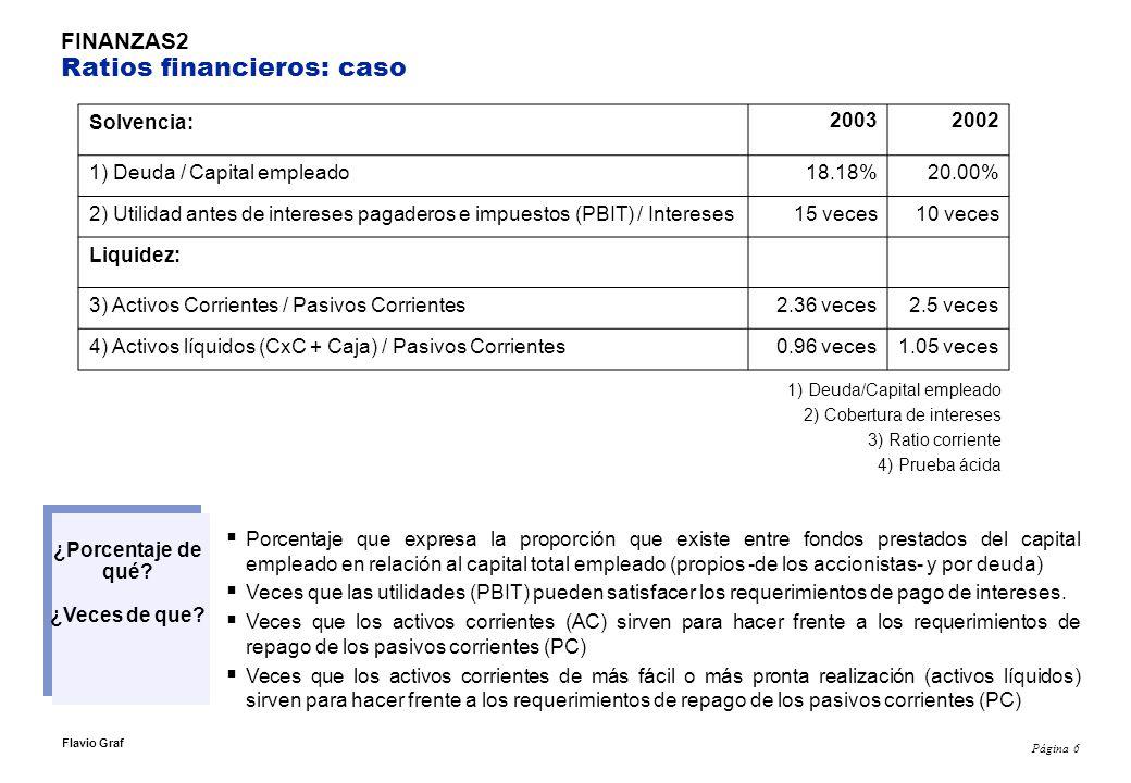Página 7 Flavio Graf FINANZAS 1 Notas sobre ratios financieros 1) Deuda/Capital empleado El resultado de 18% significa que el resto (82%) del capital empleado es patrimonio.