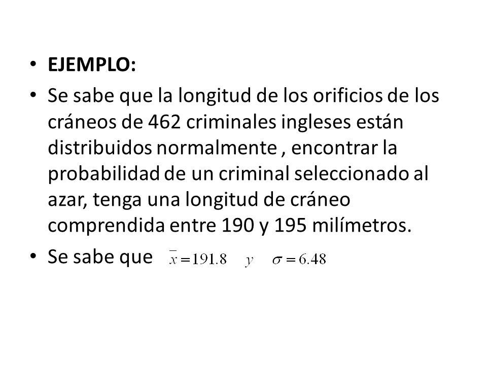 EJEMPLO: Se sabe que la longitud de los orificios de los cráneos de 462 criminales ingleses están distribuidos normalmente, encontrar la probabilidad