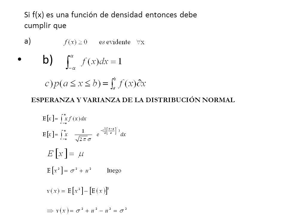 Si f(x) es una función de densidad entonces debe cumplir que a) b) ESPERANZA Y VARIANZA DE LA DISTRIBUCIÓN NORMAL