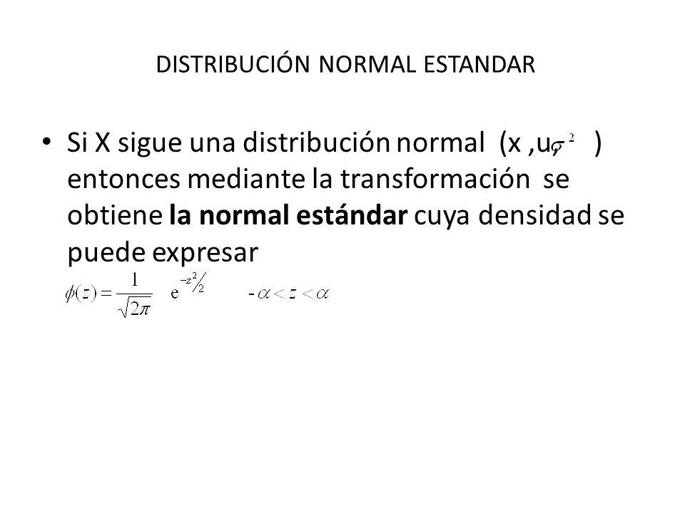 DISTRIBUCIÓN NORMAL ESTANDAR Si X sigue una distribución normal (x,u, ) entonces mediante la transformación se obtiene la normal estándar cuya densida