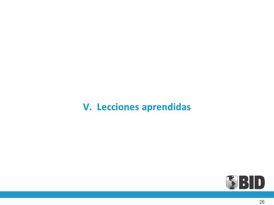 V. Lecciones aprendidas 26