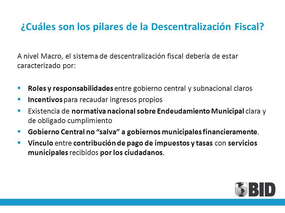 ¿Cuáles son los pilares de la Descentralización Fiscal.