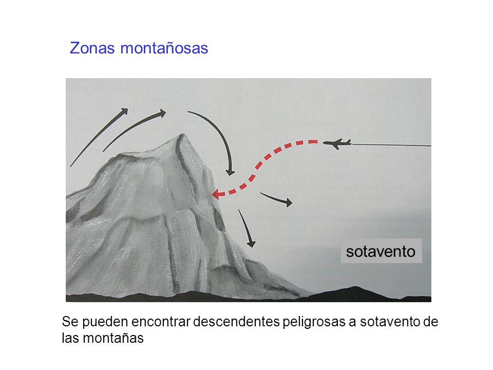 Zonas montañosas Se pueden encontrar descendentes peligrosas a sotavento de las montañas sotavento