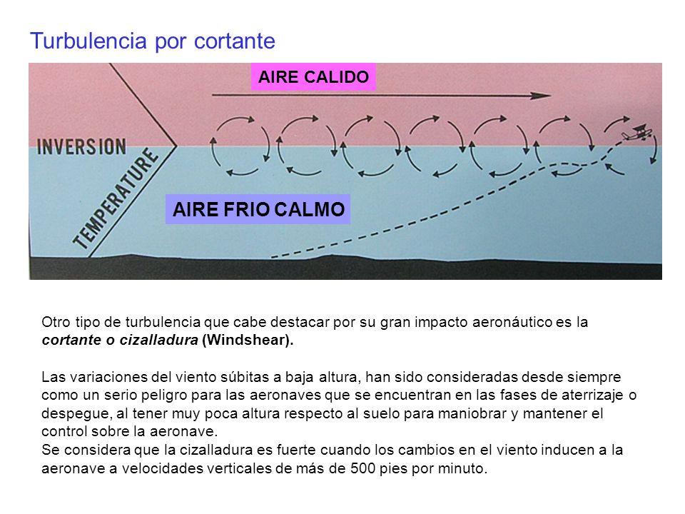 Otro tipo de turbulencia que cabe destacar por su gran impacto aeronáutico es la cortante o cizalladura (Windshear). Las variaciones del viento súbita