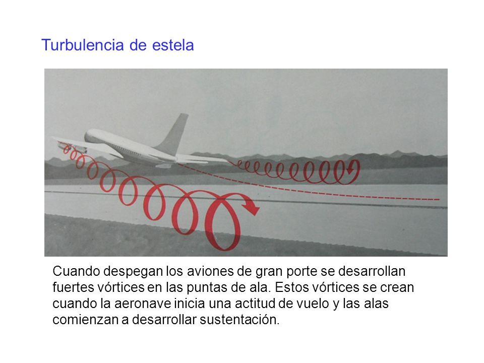 Turbulencia de estela Cuando despegan los aviones de gran porte se desarrollan fuertes vórtices en las puntas de ala. Estos vórtices se crean cuando l