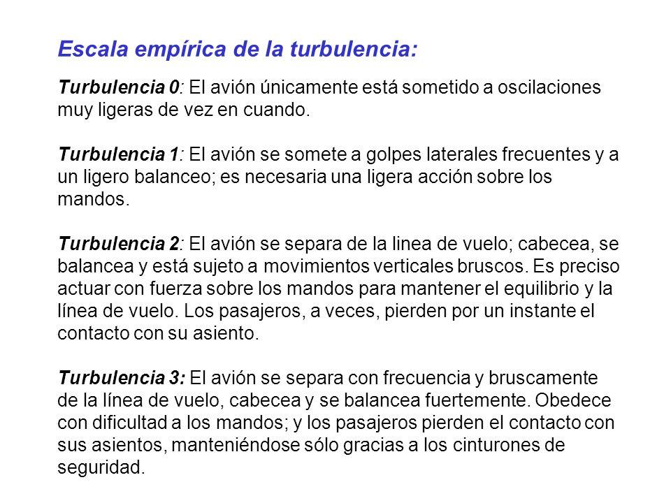 Escala empírica de la turbulencia: Turbulencia 0: El avión únicamente está sometido a oscilaciones muy ligeras de vez en cuando. Turbulencia 1: El avi