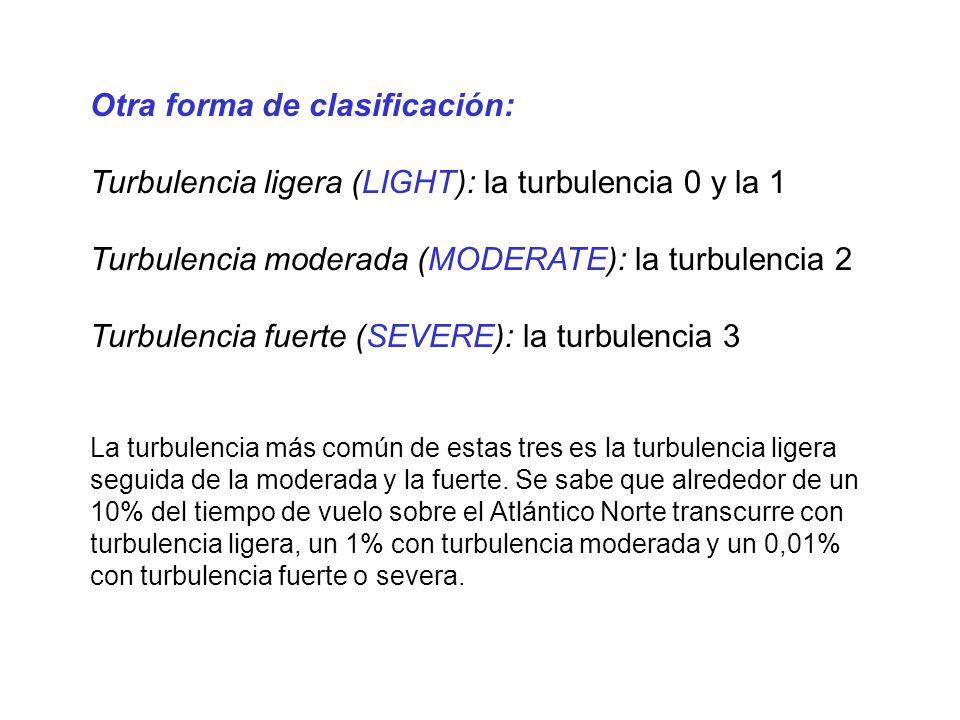 Otra forma de clasificación: Turbulencia ligera (LIGHT): la turbulencia 0 y la 1 Turbulencia moderada (MODERATE): la turbulencia 2 Turbulencia fuerte