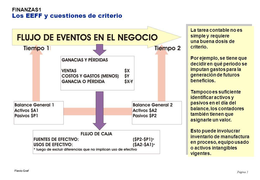 Página 5 Flavio Graf FINANZAS1 Los EEFF y cuestiones de criterio La tarea contable no es simple y requiere una buena dosis de criterio.