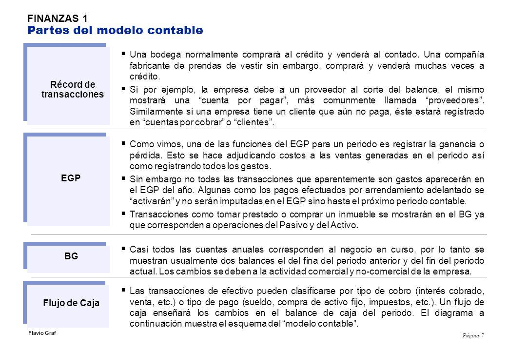Página 7 Flavio Graf FINANZAS 1 Partes del modelo contable Una bodega normalmente comprará al crédito y venderá al contado.