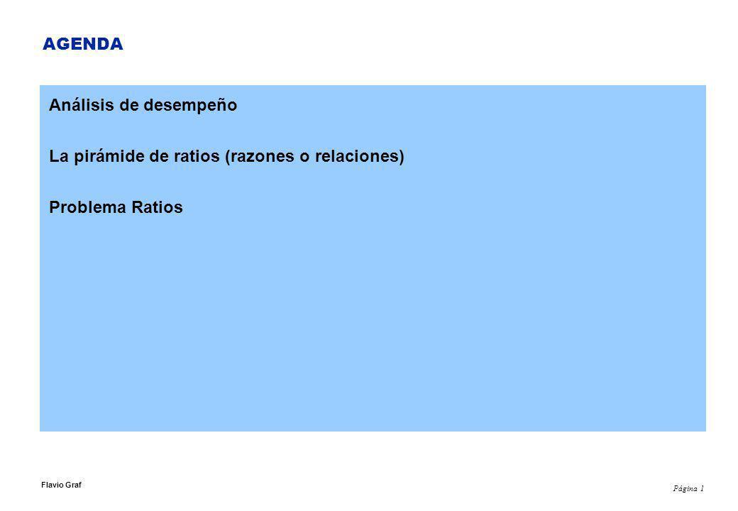 Página 1 Flavio Graf AGENDA Análisis de desempeño La pirámide de ratios (razones o relaciones) Problema Ratios