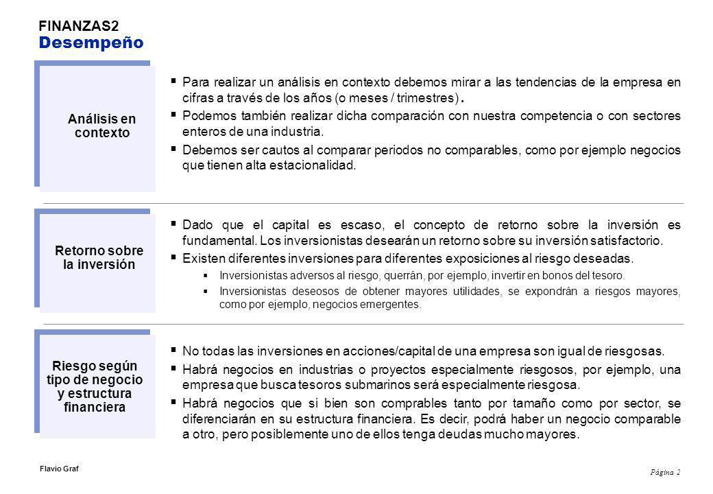 Página 2 Flavio Graf Para realizar un análisis en contexto debemos mirar a las tendencias de la empresa en cifras a través de los años (o meses / trimestres).