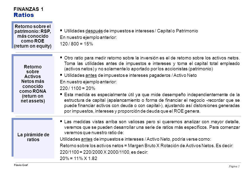 Página 6 Flavio Graf FINANZAS 1 Ratios El 10% de utilidades es una medida común de desempeño.
