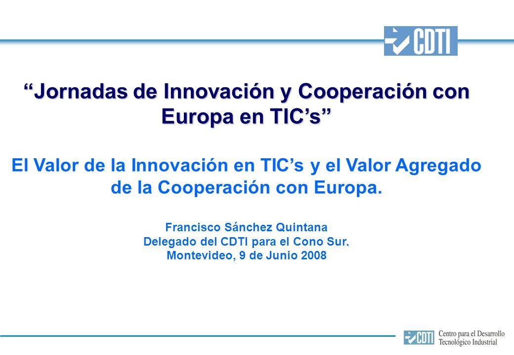 Jornadas de Innovación y Cooperación con Europa en TICs El Valor de la Innovación en TICs y el Valor Agregado de la Cooperación con Europa.