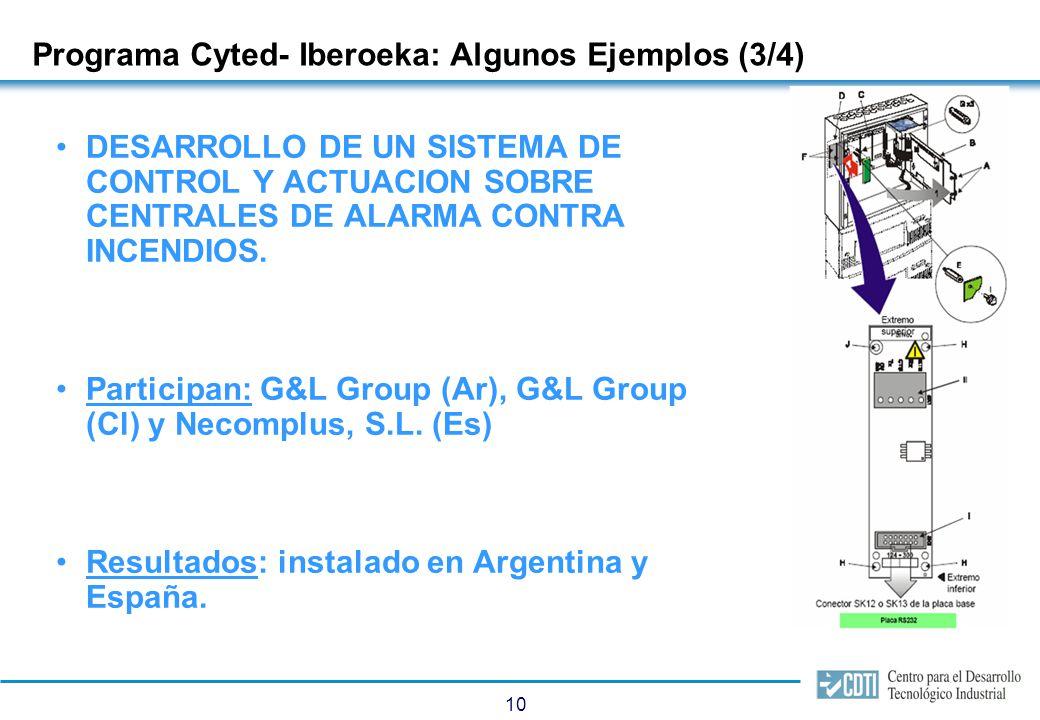 10 Programa Cyted- Iberoeka: Algunos Ejemplos (3/4) DESARROLLO DE UN SISTEMA DE CONTROL Y ACTUACION SOBRE CENTRALES DE ALARMA CONTRA INCENDIOS. Partic