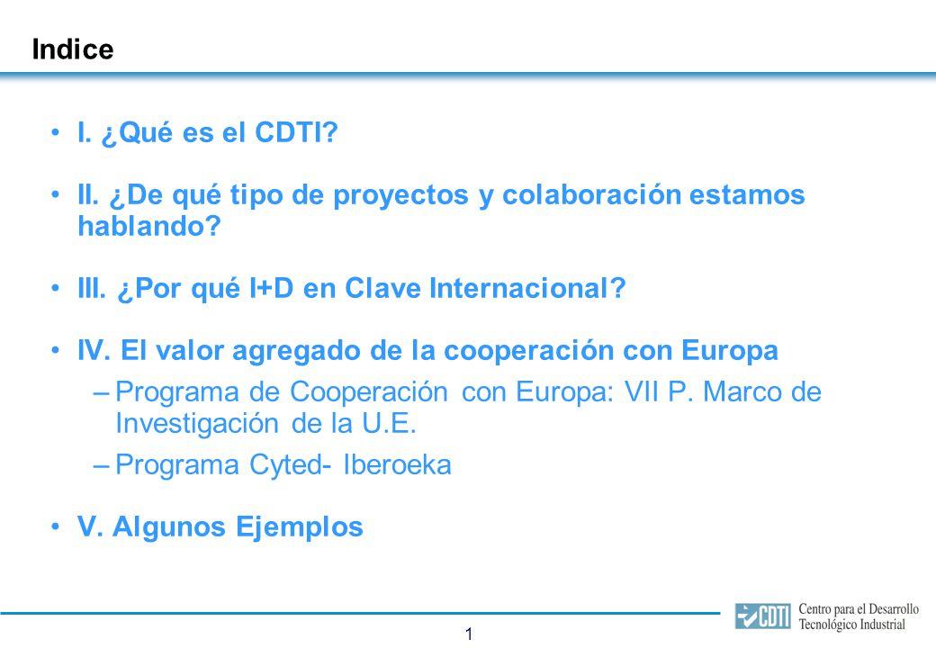 1 Indice I. ¿Qué es el CDTI? II. ¿De qué tipo de proyectos y colaboración estamos hablando? III. ¿Por qué I+D en Clave Internacional? IV. El valor agr