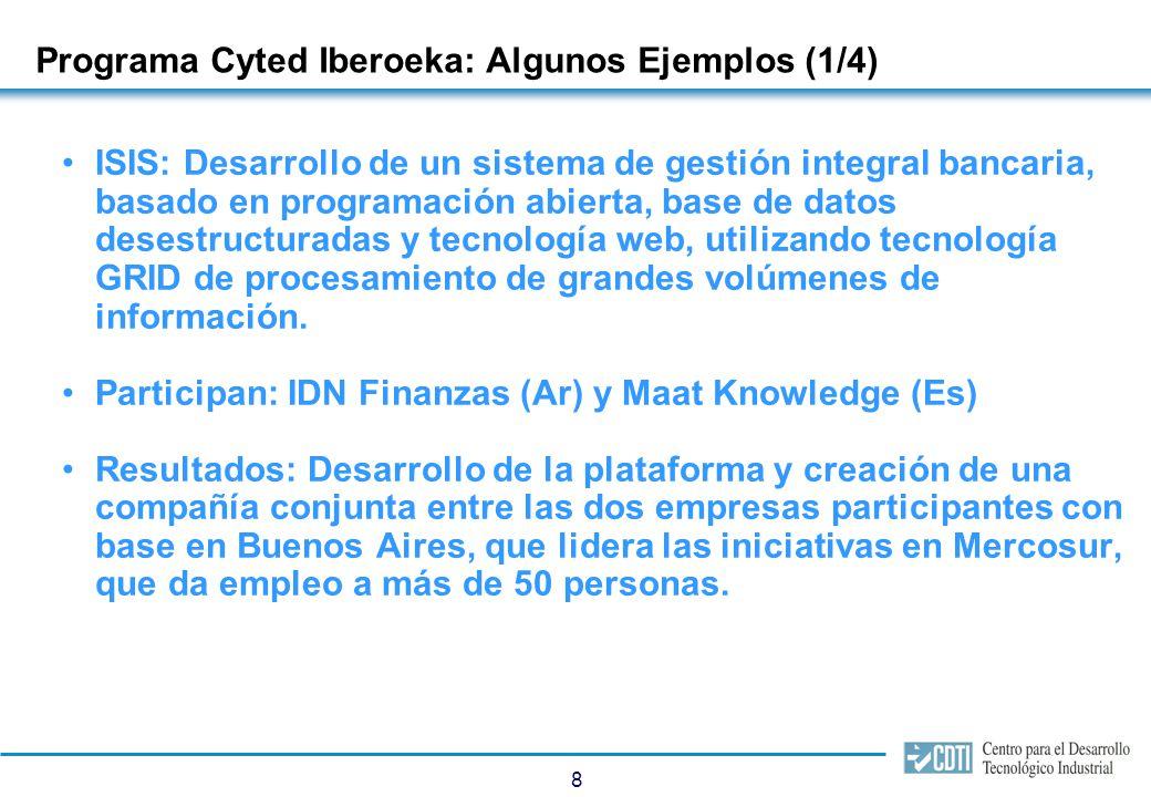 8 Programa Cyted Iberoeka: Algunos Ejemplos (1/4) ISIS: Desarrollo de un sistema de gestión integral bancaria, basado en programación abierta, base de datos desestructuradas y tecnología web, utilizando tecnología GRID de procesamiento de grandes volúmenes de información.