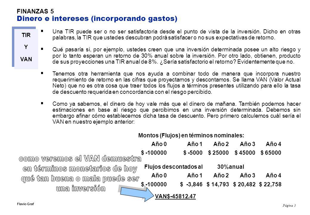 Página 3 Flavio Graf FINANZAS 5 Dinero e intereses (incorporando gastos) TIR Y VAN Una TIR puede ser o no ser satisfactoria desde el punto de vista de la inversión.