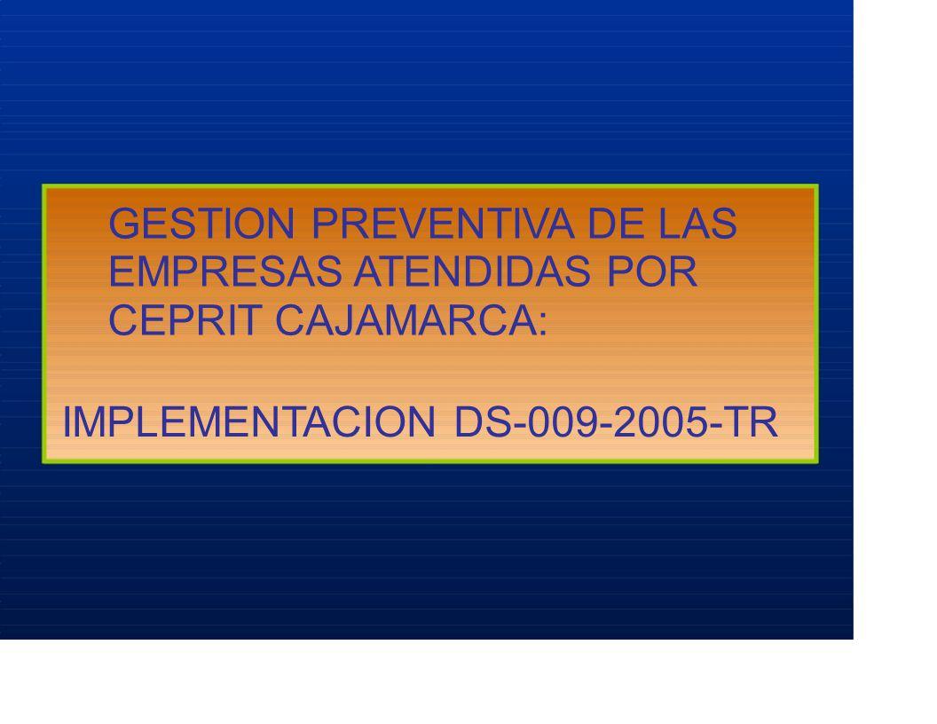 GESTION PREVENTIVA DE LAS EMPRESAS ATENDIDAS POR CEPRIT CAJAMARCA: IMPLEMENTACION DS-009-2005-TR