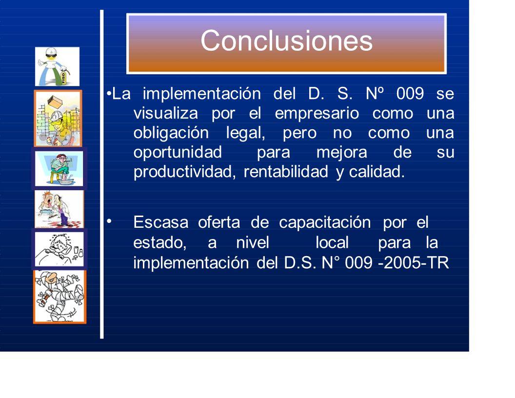 Conclusiones La implementación del D. S. Nº 009 se visualiza por el empresario como una obligación legal, pero no como una oportunidad para mejora de