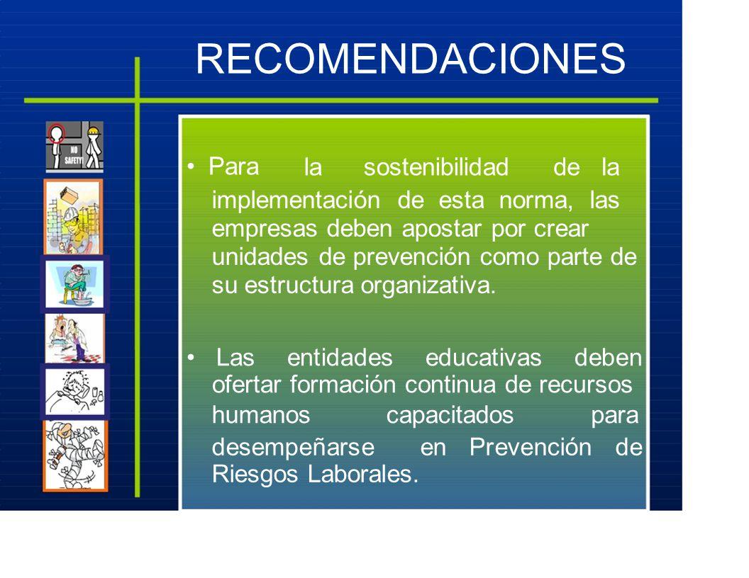 RECOMENDACIONES Para lasostenibilidadde la implementación de esta norma, las empresas deben apostar por crear unidades de prevención como parte de su estructura organizativa.